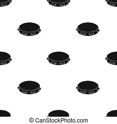 Tambourine icon in black style isolated on white background. Spain country symbol stock bitmap, raster illustration.
