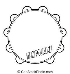 Tambourine icon, outline style
