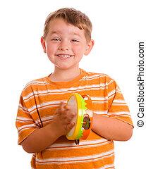 tambourine, isolado, tocando, criança, sorrindo, branca, feliz