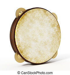 Tambourine isolated on white background. 3D illustration
