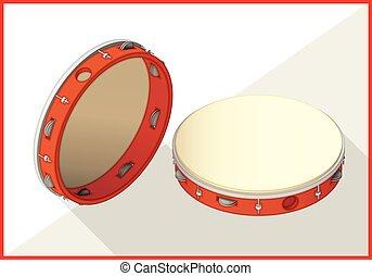 tambourine, isometric, perspectiva, vista, apartamento