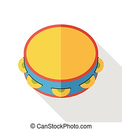 Tambourine music instrument flat icon