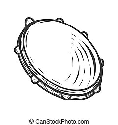 Tambourine, musical instrument. Sketch scratch board imitation. Black and white. Engraving vector illustration.