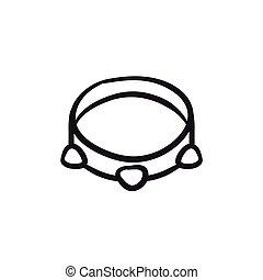 Tambourine sketch icon.
