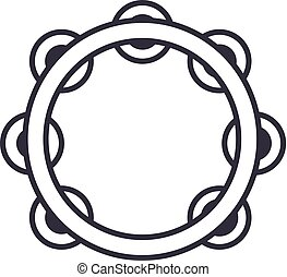 tambourine vector line icon, sign, illustration on background, editable strokes