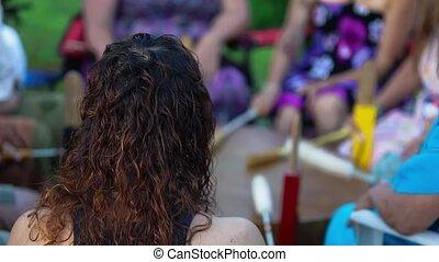 tambours, sacré, chant, group., spirituel