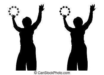 tamburin, frau