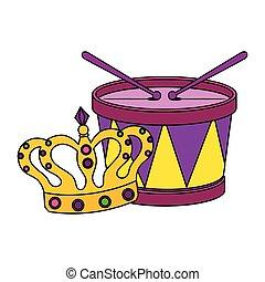 tamburo, mardi gras, corona, isolato, disegno, vettore