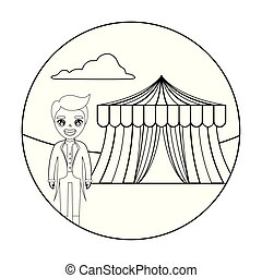 tamer male with tent circus in frame circular