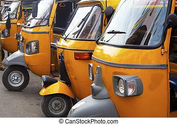 tamil, automóvil, rickshaw, estante, nadu