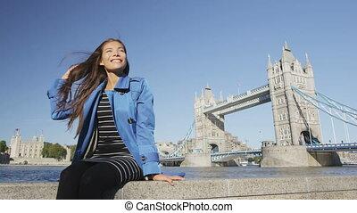tamise, tourdu pont, rivière, londres, femme