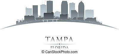 tampa, 佛羅里達, 城市, 黑色半面畫像, 白色 背景