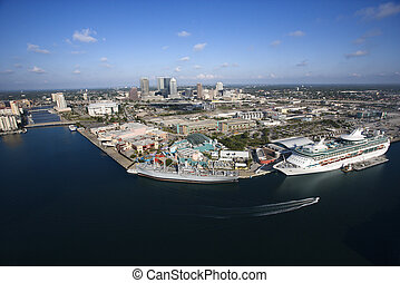 Tampa Bay Area. - Aerial view of Tampa Bay Area, Florida ...