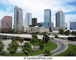 Tampa cityskape - Cityscape of Tampa with tall buildings, ...