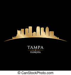 Tampa Florida city silhouette black background - Tampa...