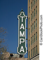 Tampa Sign Off of Theater in Downtown.