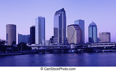 Tampa - twiglight - Buildings in Downtown Tampa, Florida -...