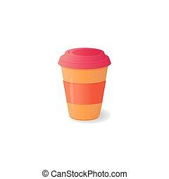 tampa, xícara café, descartável, drinks., plástico, quentes, outro