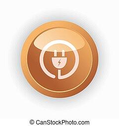tampe ícone, ligado, laranja, redondo, botão