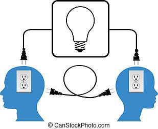 tampe dentro, pessoas, juntar, em, volta, luz, conexão