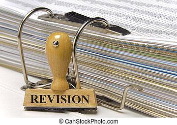 tampon, marqué, révision