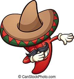 tamponner, piment, mexicain, poivre