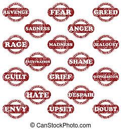 tampons, ensemble, négatif, émotions