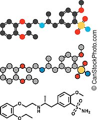 Tamsulosin benign prostatic hyperplasia (BPH) drug molecule.