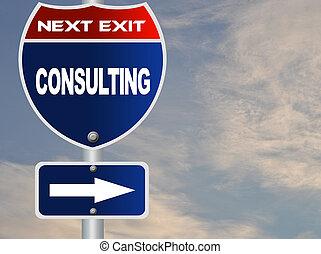 tanácsadó, út cégtábla