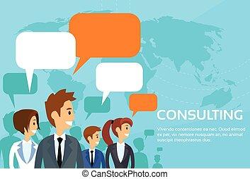 tanácsadó, csoport, ügy emberek, beszéd, csevegés, fejteget