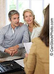 tanácsadó, párosít, gyűlés, otthon