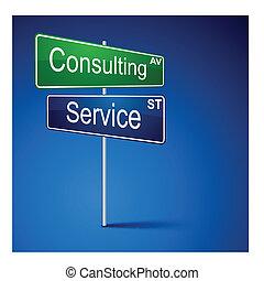 tanácsadó, szolgáltatás, irány, út, cégtábla.
