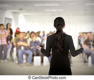 tanácskozás, bemutatás, beszélő
