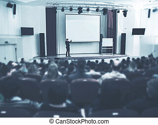 tanácskozás, hall., ügy, kihallgatás, presentation., beszélő