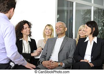 tanácskozás, kihallgatás, beszélő, egymásra hatók