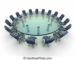 tanácskozás, pohár, busines, asztal
