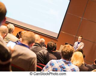 tanácskozás, presentation., beszélő, ügy