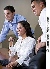 tanácskozóterem, munkás, bemutatás, hivatal, őrzés