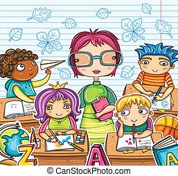 tanár, és, csinos, gyerekek