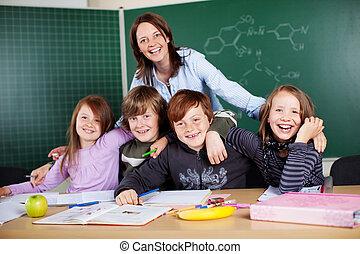 tanár, és, diákok
