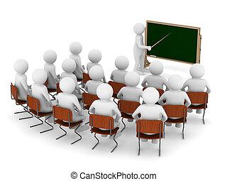 tanár, noha, mutató, -ban, blackboard., elszigetelt, 3, kép