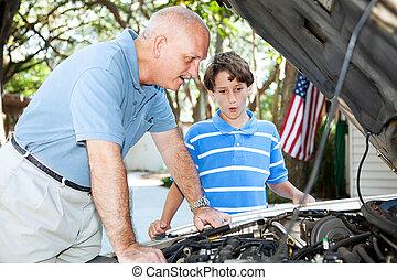 tanítás, fiú, atya, autó megjavítás