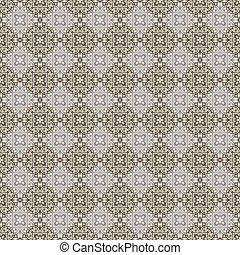tan, 青, ダマスク織, パターン, &, 灰色, seamless, 壁紙