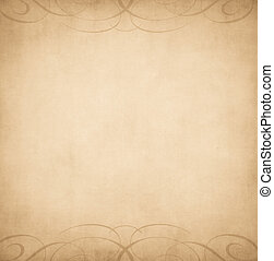 Tan background with brown swooshes at the top and bottom