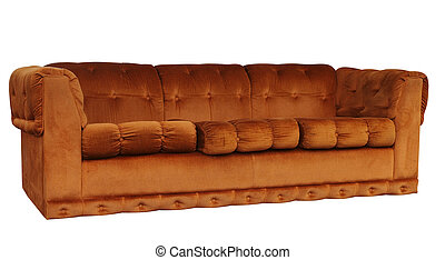 Tan Couch isolated with clipping path