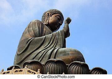 tan., géant, kong, hong, tian, bouddha, statue, porcelaine