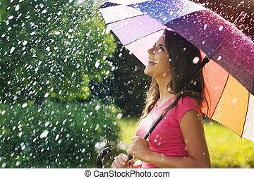 tan, lluvia, diversión de verano, mucho
