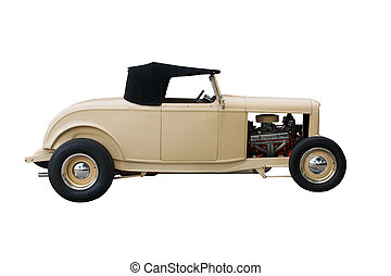 clean, tan convertible hotrod isolated on white