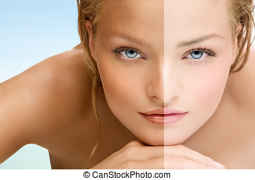 Tan - Beauty visual about suntan. Model's face divided in...