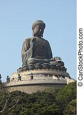 tan., reus, kong, hong, tian, boeddha, standbeeld, china